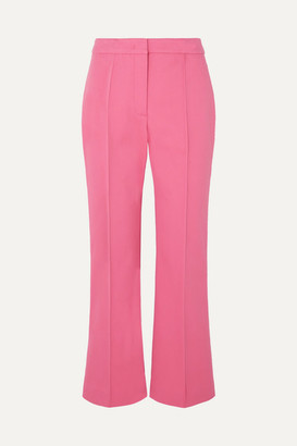 Derek Lam Cropped Pintucked Stretch-cotton Twill Flared Pants - Pink