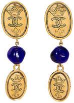 One Kings Lane Vintage Chanel Blue Gripoix Logo Coin Earrings
