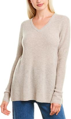 Forte Cashmere Easy Rib Cashmere V-Neck Sweater