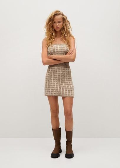 MANGO Check tweed miniskirt