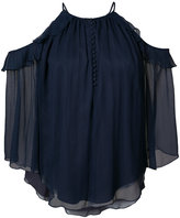 Rachel Zoe pleated rim halterneck shirt - women - Silk/Polyester - 2