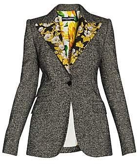 Dolce & Gabbana Women's Floral Jacquard Lapel Detail Jacket