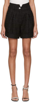 Balmain Black Tweed Pleated Shorts