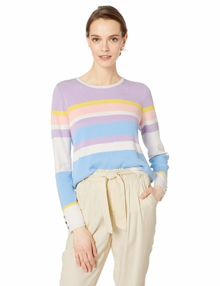 Calvin Klein Women's Multi Stripe Sweater with Buttons X-Large
