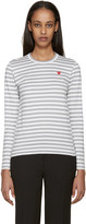 Comme des Garcons White and Grey Striped Heart Patch T-shirt