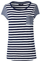 Lands' End Women's Petite Stripe Cap Sleeve Pocket Tee-Deep Sea Breton Stripe