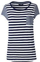 Lands' End Women's Plus Size Stripe Cap Sleeve Pocket Tee-Deep Sea Breton Stripe
