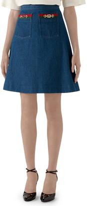 Gucci Web Ribbon Trim Denim Miniskirt