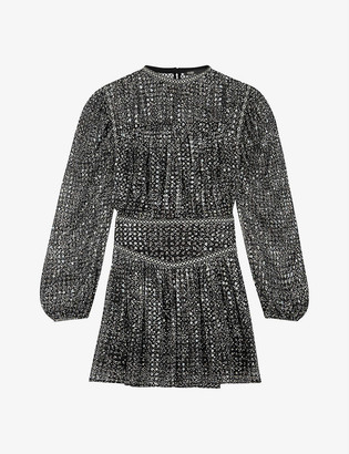 Maje Rimix embroidered-trim sequinned mini dress