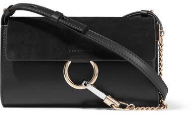 Chloé Faye Mini Leather And Suede Shoulder Bag - Black