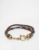 ICON BRAND Skull Plaited Bracelet