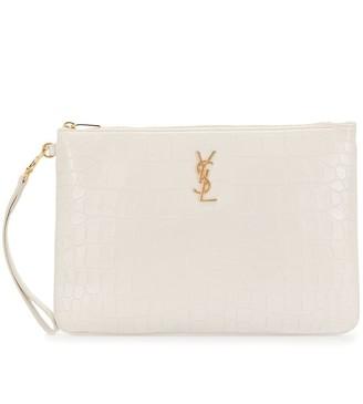 Saint Laurent Croc-Effect Embossed Clutch Bag