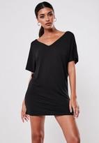 Missguided Tall Black Wide V Neck T Shirt Dress