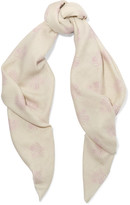 The Elder Statesman Printed Cashmere Scarf - Cream