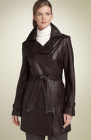 Belted Lambskin Leather Trench Coat