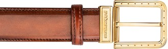 Pakerson Ripa Wood Italian Leather Belt w/ Gold Buckle