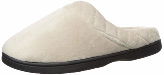 Dearfoams Women's Darcy Microfiber Velour Clog with Quilted Cuff Slipper Pewter S W US