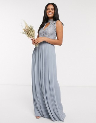 TFNC bridesmaid lace detail maxi dress in dusty blue