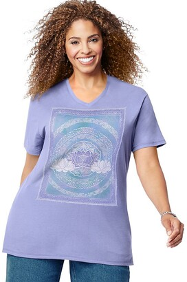 Just My Size Women's Plus Size JMS Graphic S/S V-Neck