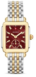 Michele Deco Madison Mid Red Dial Diamond Watch Head, 29mm x 31mm