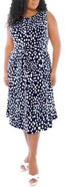 London Times Plus Size Dot-Print Belted Dress