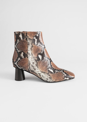 And other stories Wooden Heel Snake Ankle Boots