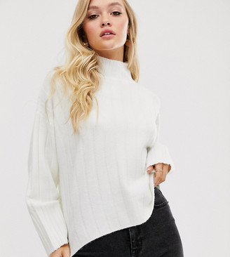 M Lounge Micha Lounge high neck jumper in wide rib knit