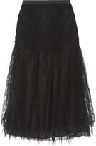 Rochas Paneled silk-lace and twill midi skirt