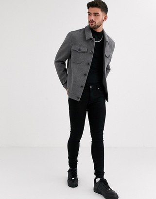 ASOS DESIGN wool mix western jacket in gray