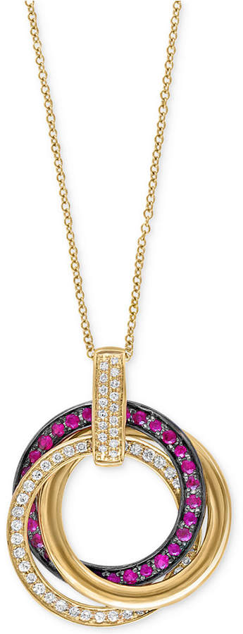 Effy Ruby Royale by Ruby (1/3 ct. t.w.) and Diamond (1/4 ct. t.w.) Pendant Necklace in 14k Gold, Created for Macy's