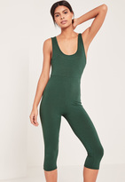 Missguided Green Ribbed Scoop Neck Cropped Romper
