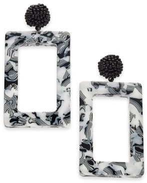 INC International Concepts Inc Hematite-Tone Printed Square Drop Earrings, Created For Macy's