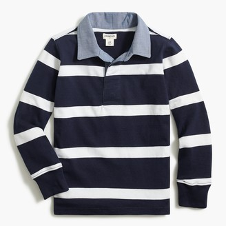 J.Crew Boys' long-sleeve rugby polo with chambray collar