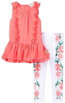 Juicy Couture Ruffle Tunic & Floral Print Legging Set (Toddler Girls)