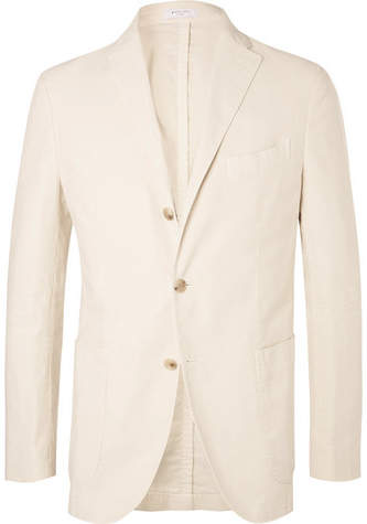 Boglioli Cream Unstructured Garment-Dyed Cotton-Corduroy Blazer
