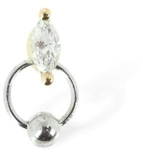 Delfina Delettrez Diamond Drop & Gold Hoop Mono Earring