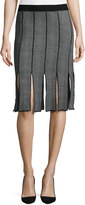 Neiman Marcus Knit Skirt w/ Car Wash Fringe, Black/Mist Gray