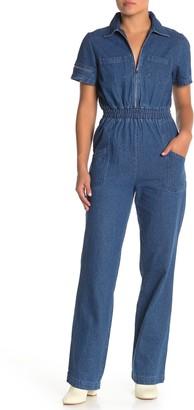 KENDALL + KYLIE Spread Collar Patch Pocket Denim Jumpsuit