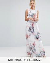 Little Mistress Tall Floral Printed Maxi Dress With Pleated Skirt Detail