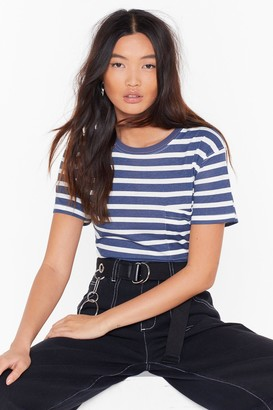 Nasty Gal Womens Always Stripe Crew Neck Tee - green - S