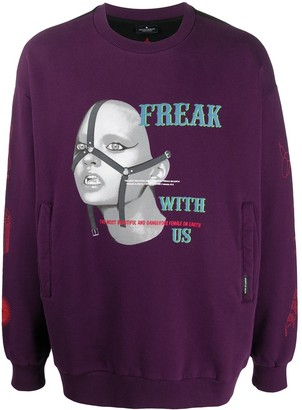 Marcelo Burlon County of Milan Freak Over Crewneck Dark Purple Multicol
