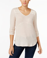 Style&Co. Style & Co. Petite Crochet-Detail Ribbed Top, Only at Macy's