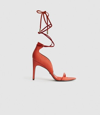 Reiss COCO LEATHER STRAPPY WRAP SANDALS Orange