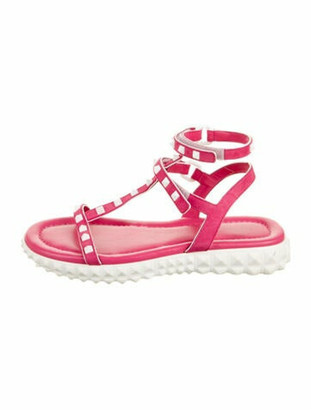 Valentino Rockstud Suede Sandals Pink