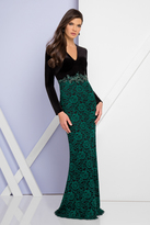 Terani Couture 1722E4190 Long Sleeve V-Neck Evening Gown