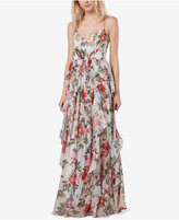 Fame and Partners Printed Ruffle Maxi Gown