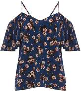Warehouse Mae Floral Frill Sleeve Top