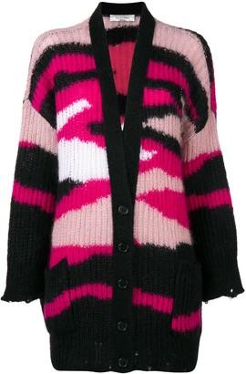 Valentino Ribbed Knit Patterned Cardigan