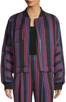 Diane von Furstenberg Women's Striped Bomber Jacket