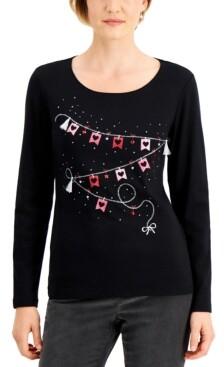 Karen Scott Plus Size Sign of Love Top, Created for Macy's